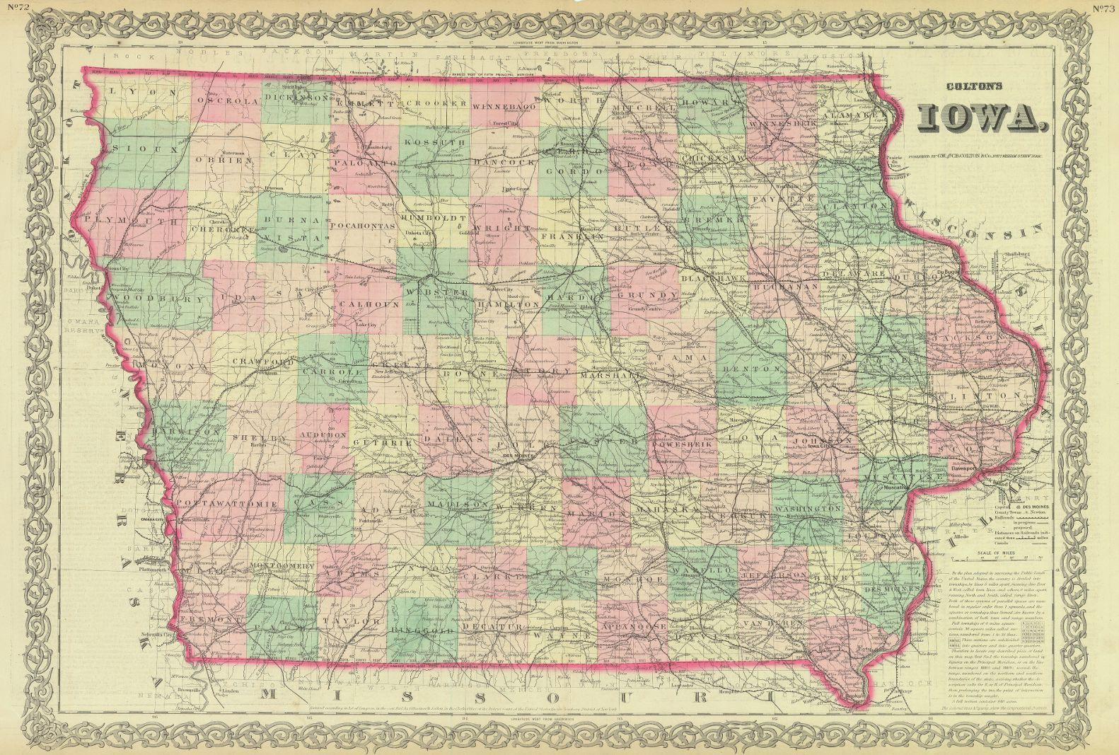 Map Antique Colton S Iowa G W C B Colton Co C1862 New