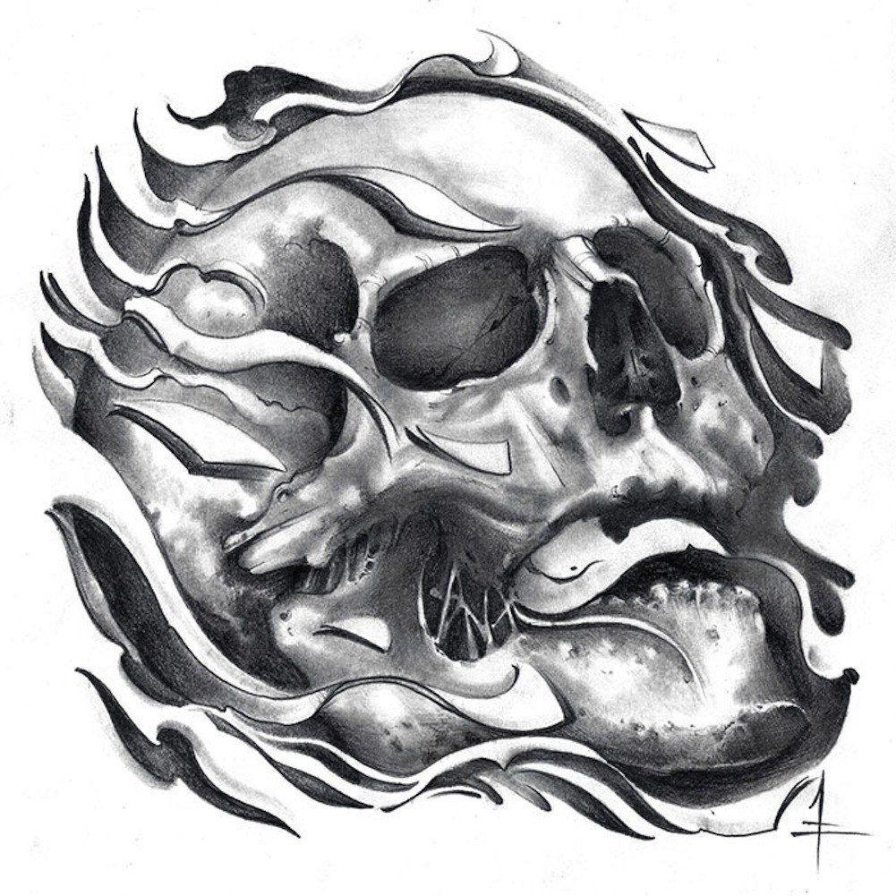 Tattoo Art Black And White: Tretick Skull By Jessie Tretick Black & White Flaming