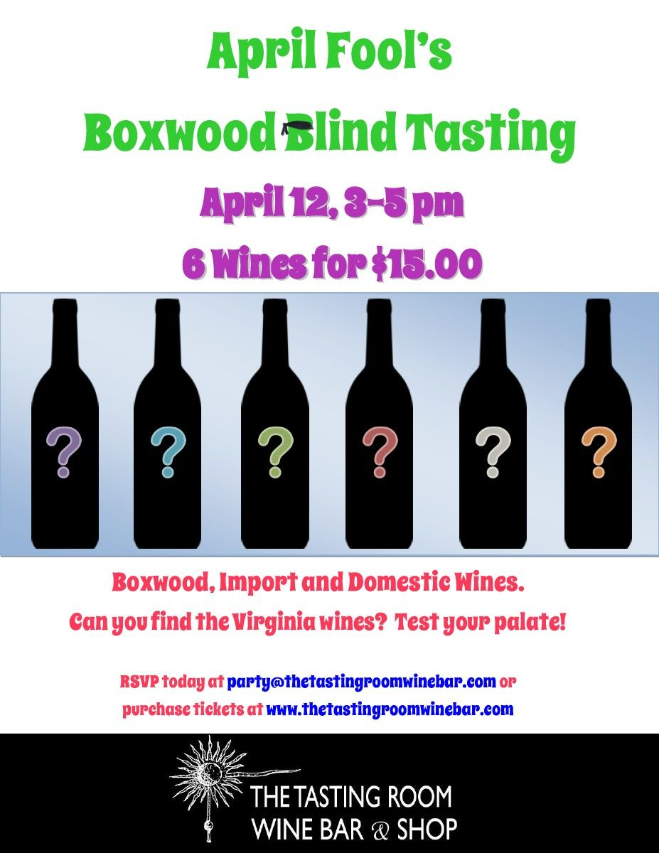 Special Blind Tasting Event...April 12th Rachell Cain