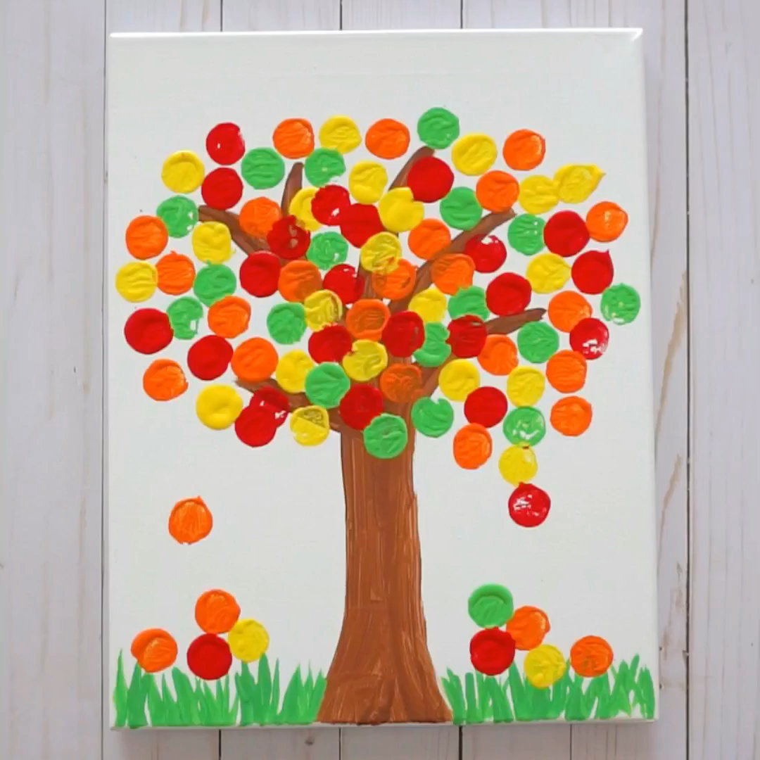 Fall Tree Cork Painting Craft for Kids!