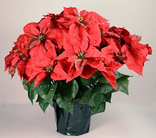 23 Realistic Red Artificial Foil Potted Christmas Poinsettia Plant Poinsettia Plant Plants Christmas Poinsettia
