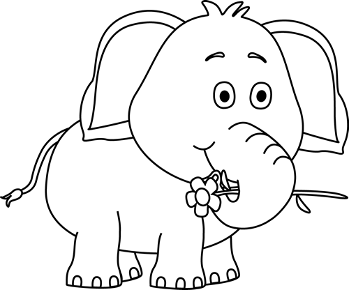 Cute Elephant Drawings Black And White Elephant With A Flower Clip Art Image Black And Cute Elephant Drawing Elephant Drawing Elephant Images
