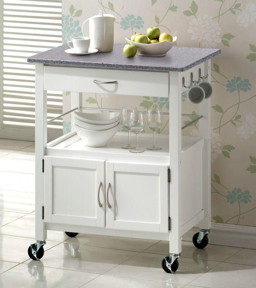 York White Painted Grey Granite Top Hardwood Kitchen Trolley Island Storage In Home Furniture Diy F Mesa Auxiliar Cocina Muebles Auxiliares Islas De Cocina
