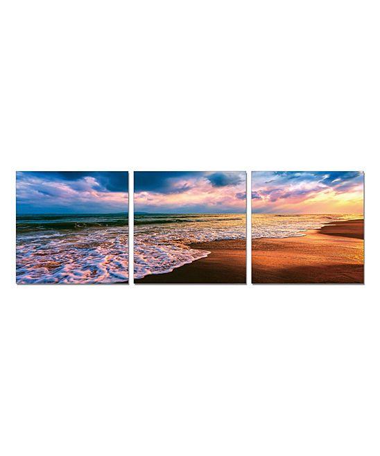 Beach Sunset 72'' Three-Panel Canvas / Wood
