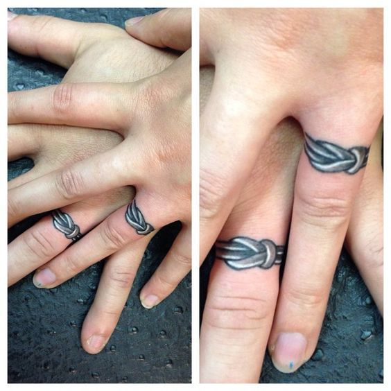 Love Knot Engagement Ring Couples Tattoos // Matching Ring Finger Tattoos
