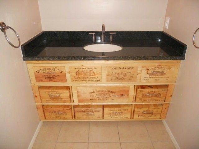 mueble de lavabo hecho con cajas de madera   muebles y diy ... - Imagenes De Armarios Hecho Con Cajas Recicladas