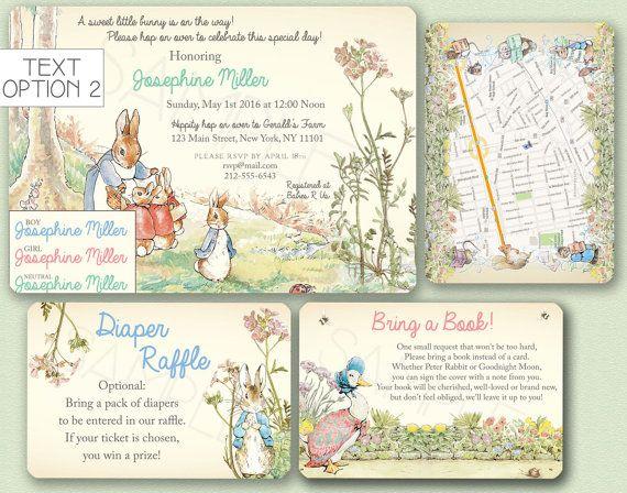 Peter Rabbit Baby Shower Invitation   Beatrix Potter Birthday Party Invite,  Bring A Book,