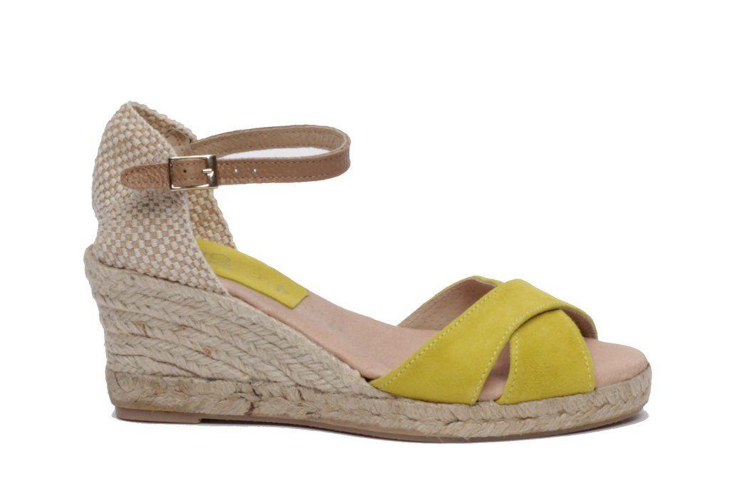 1fc31307c2c miMaO Esparto M Limón – Sandalias mujer tacón cuña cómodo color amarillo  piel ante yute-