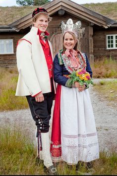 Couple Wearing Traditional Wedding Costumes And Bridal Crown Norway