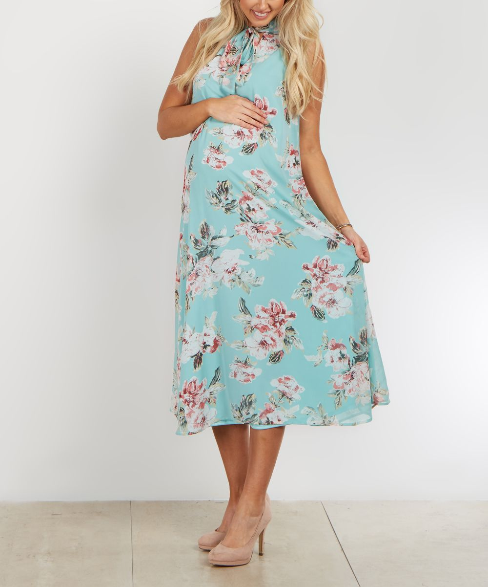 Pinkblush light blue floral tie neck maternity midi dress products