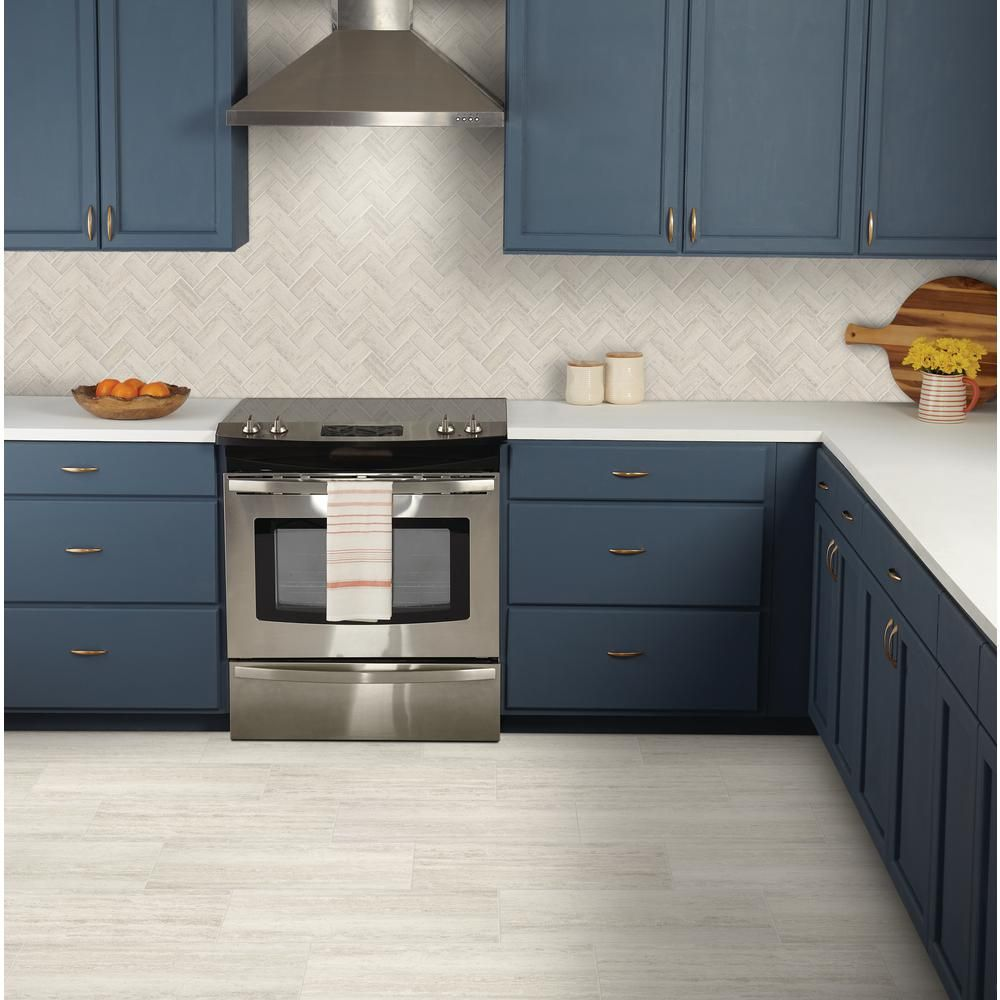 Marazzi Stonehollow Mist 12 In X 24 In Glazed Porcelain Floor And Wall Tile 15 6 Sq Ft Case Sh201224hd1p6 The Home Depot Kitchen Flooring Kitchen Remodel Herringbone Mosaic Tile