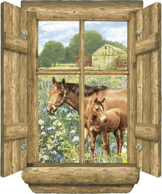 Horse View from Log Window Peel & Stick Wall Mural
