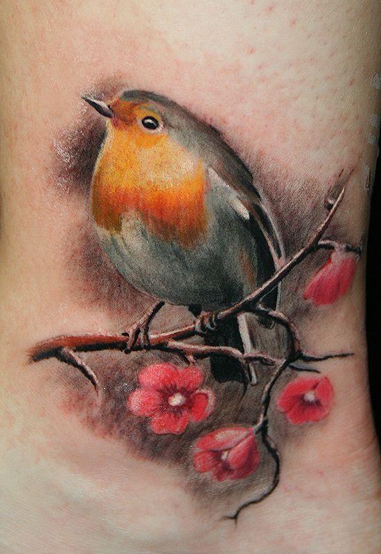 Realistic Robin Bird Tattoo