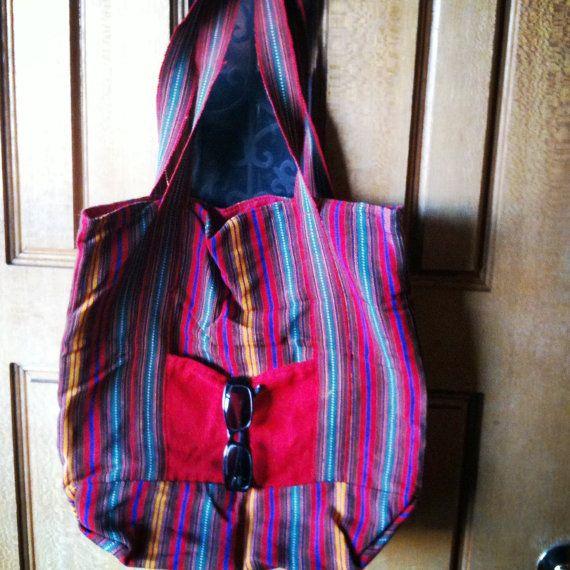 Vintage tote oversize hobo bag Spanish striped by hooray09 on Etsy, $18.00