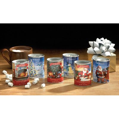 Delicious gift-giving favorite in decorative tins. Hot cocoa is a year-round favorite, but during the holidays it is a special treat. These mixes are a hot cocoa party waiting to happen! You get six yummy flavors in decorative tins, ready for gift giving: Candy cane, roasted almond, chocolate cookie, Belgian white, winter mocha and vanilla cream.