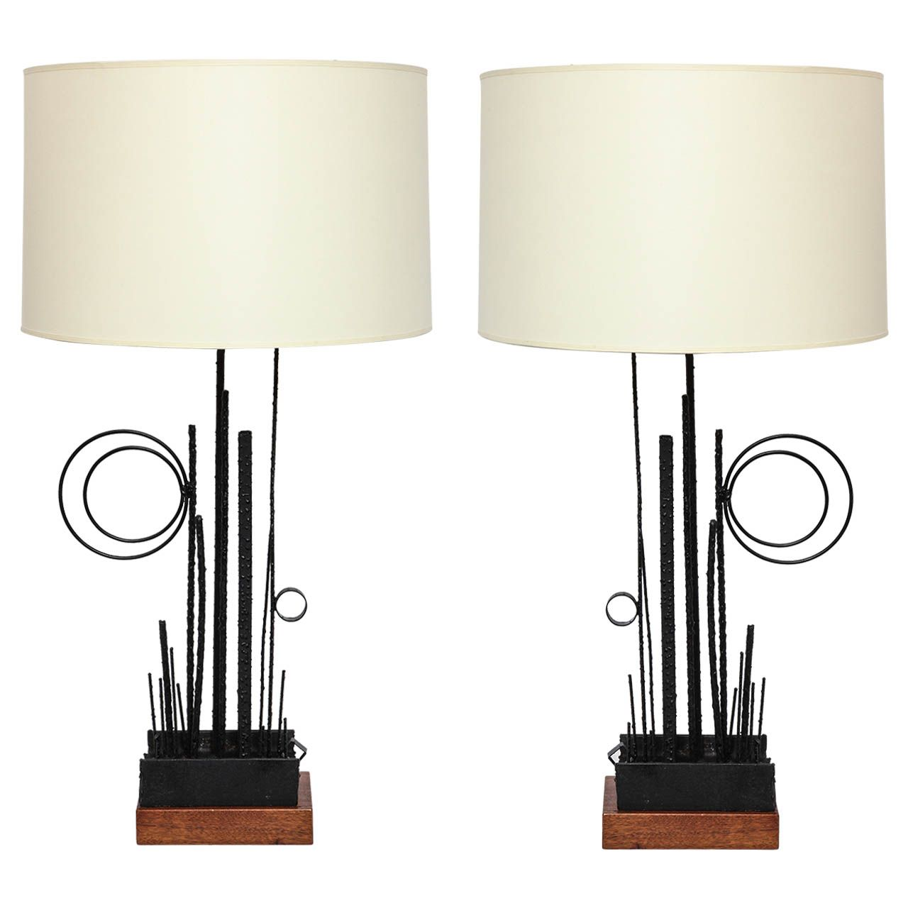 Pair of italian 1950s abstract expressionist hand wrought iron a pair of italian 1950s abstract expressionist hand wrought iron table lamps geotapseo Choice Image