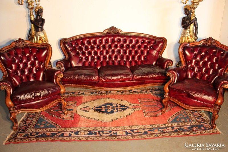 Csodaszép antik burgundi színű,chesterfield barokk bőr