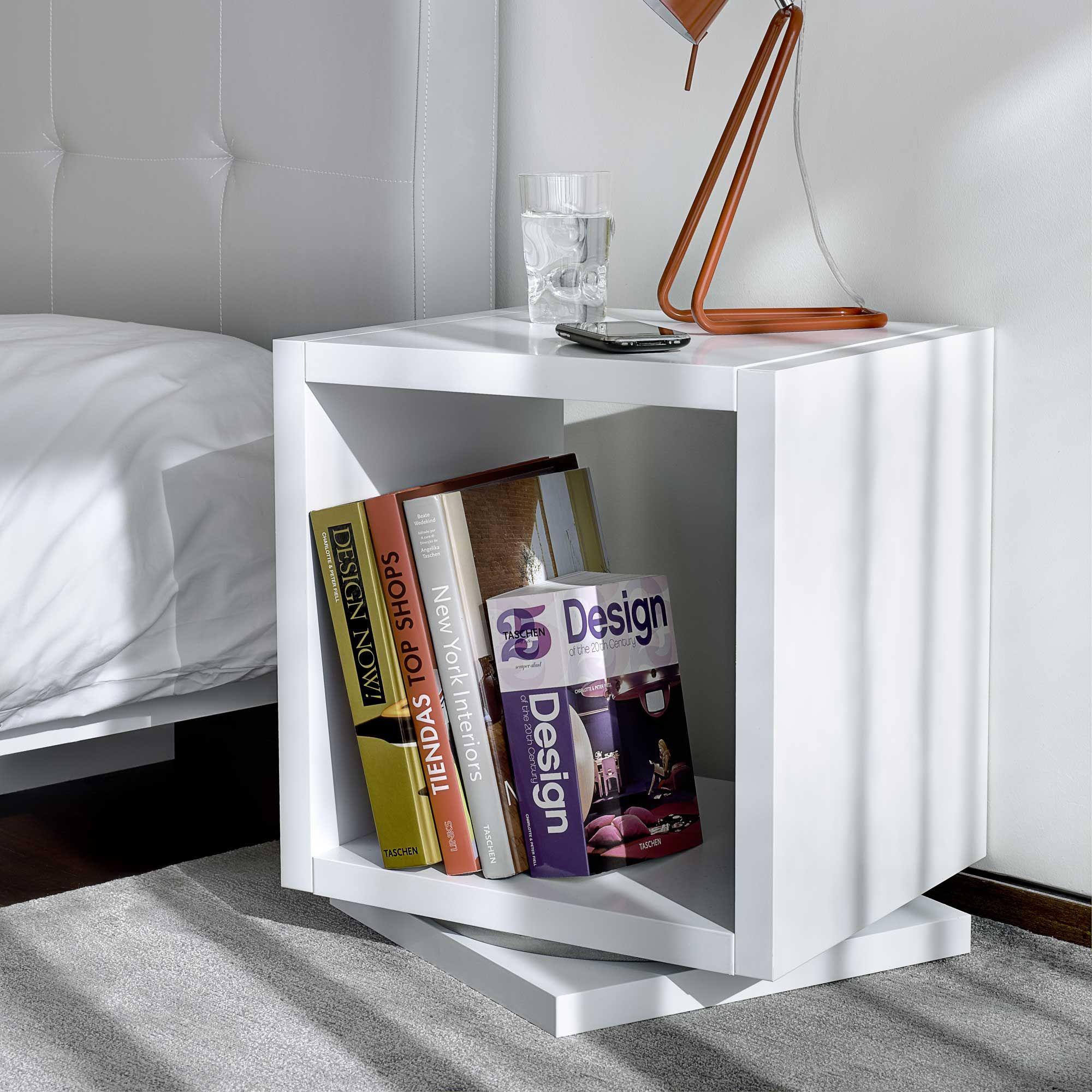 Chevet Design Pivotant Carre Par Tema Home Chez Delamaison Fr Chevet Design Chevet Design