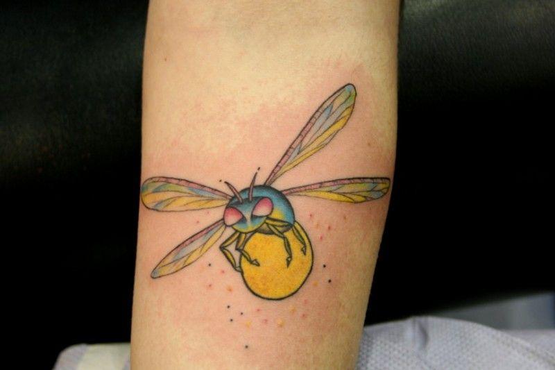 Bug Tattoo Funny cartoon lightning bug tattoo on forearm - tattoos ...