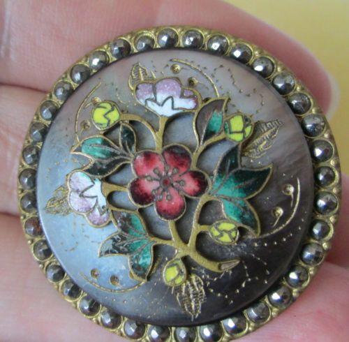 Large, Magnificent Antique Multi-Material button, Floral; steels,enamel;pearl