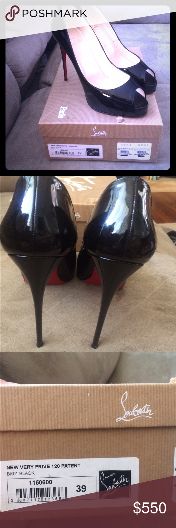 76a45b6cad1 Christian Louboutin New Very Prive 120 Patent Blk Peep toe patent leather  red bottom high heel black. Size 39 Christian Louboutin Shoes Heels