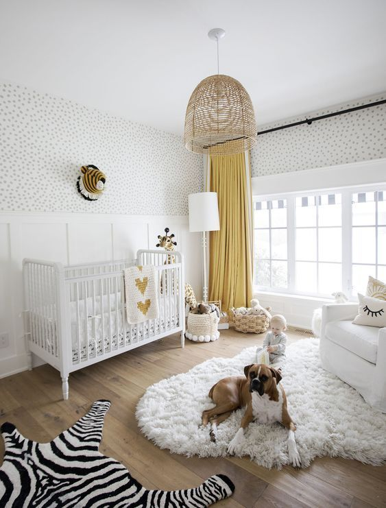 Gold Accents + Irregular Dots For a Kids Room