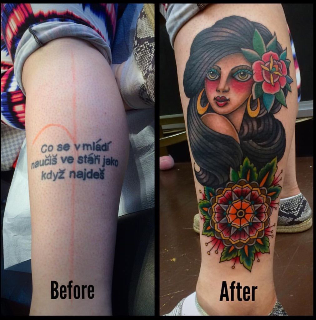 American Traditional Coverup From Jk At Moon Sheen Tattoo In Nyc American Traditional Cover Up Tattoos Tattoos