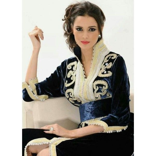 modèles de caftan marocain col officier fashion Pinterest