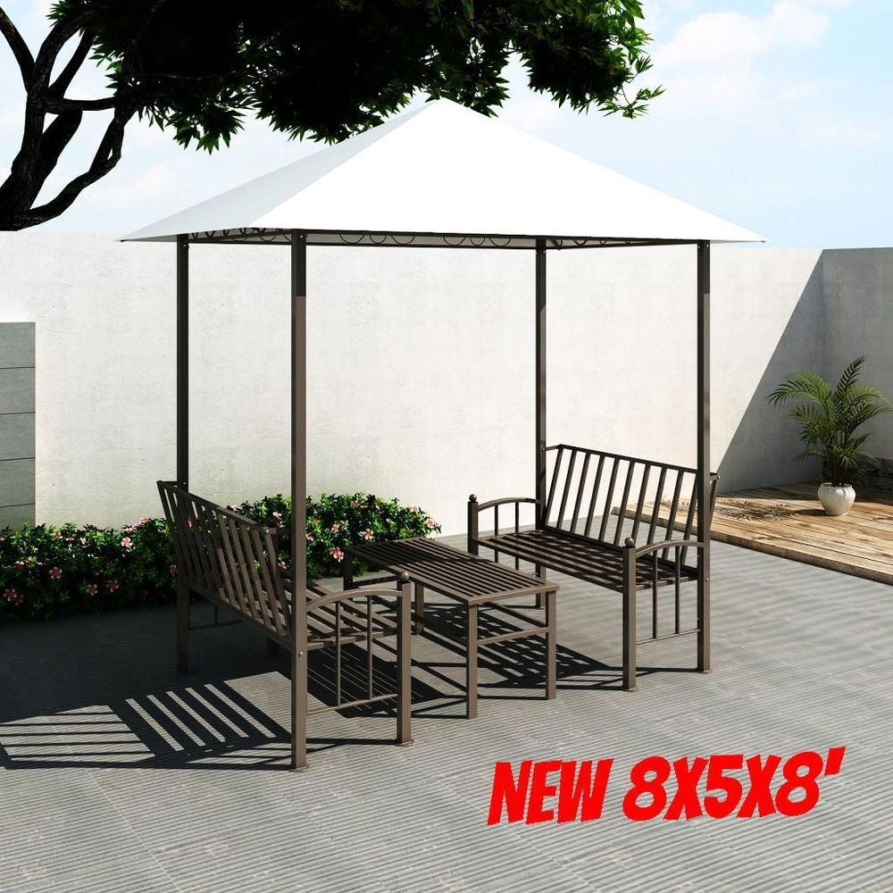 Outdoor Garden Pavilion Patio Gazebo Shed With Table Bench Set Canopy Party Tent
