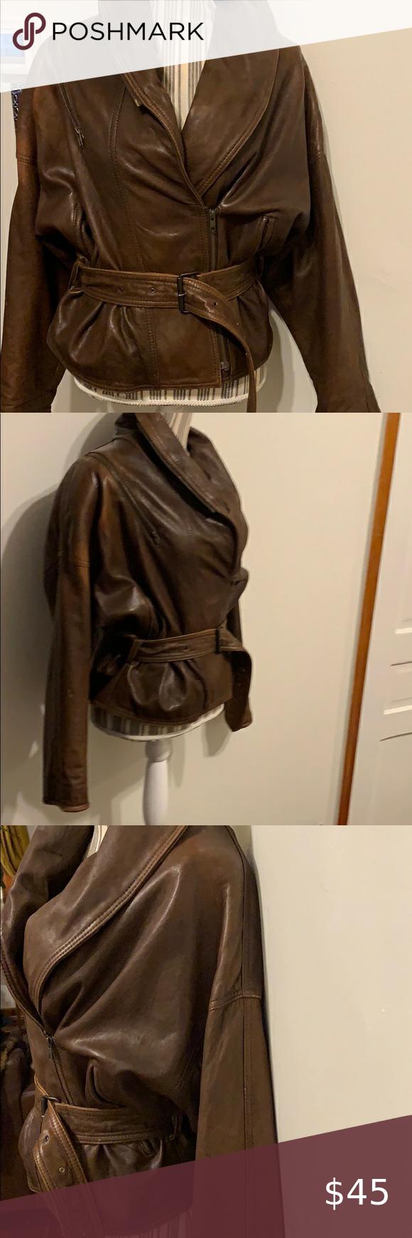 Brown Vintage Leather Jacket Leather Jacket Vintage Leather Jacket Jackets