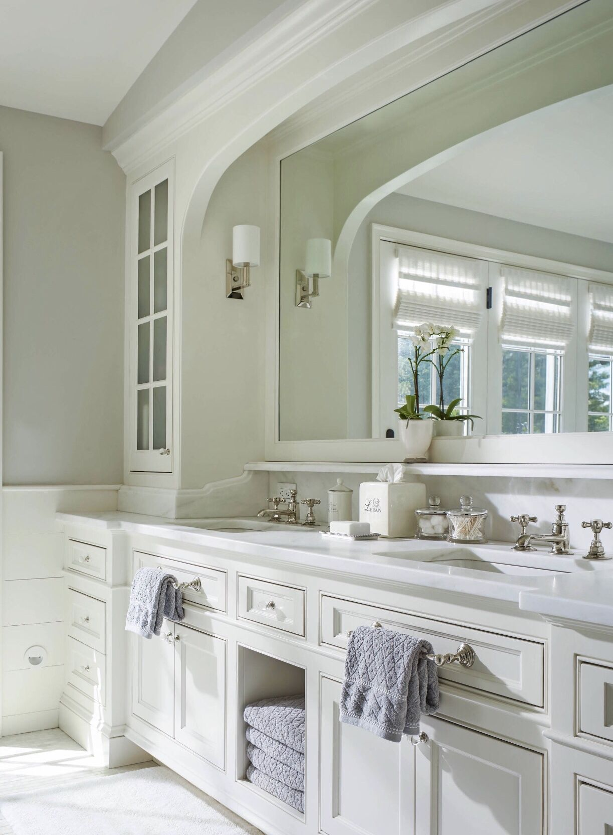 Recessed lighting in a valence over your vanity provides a ...