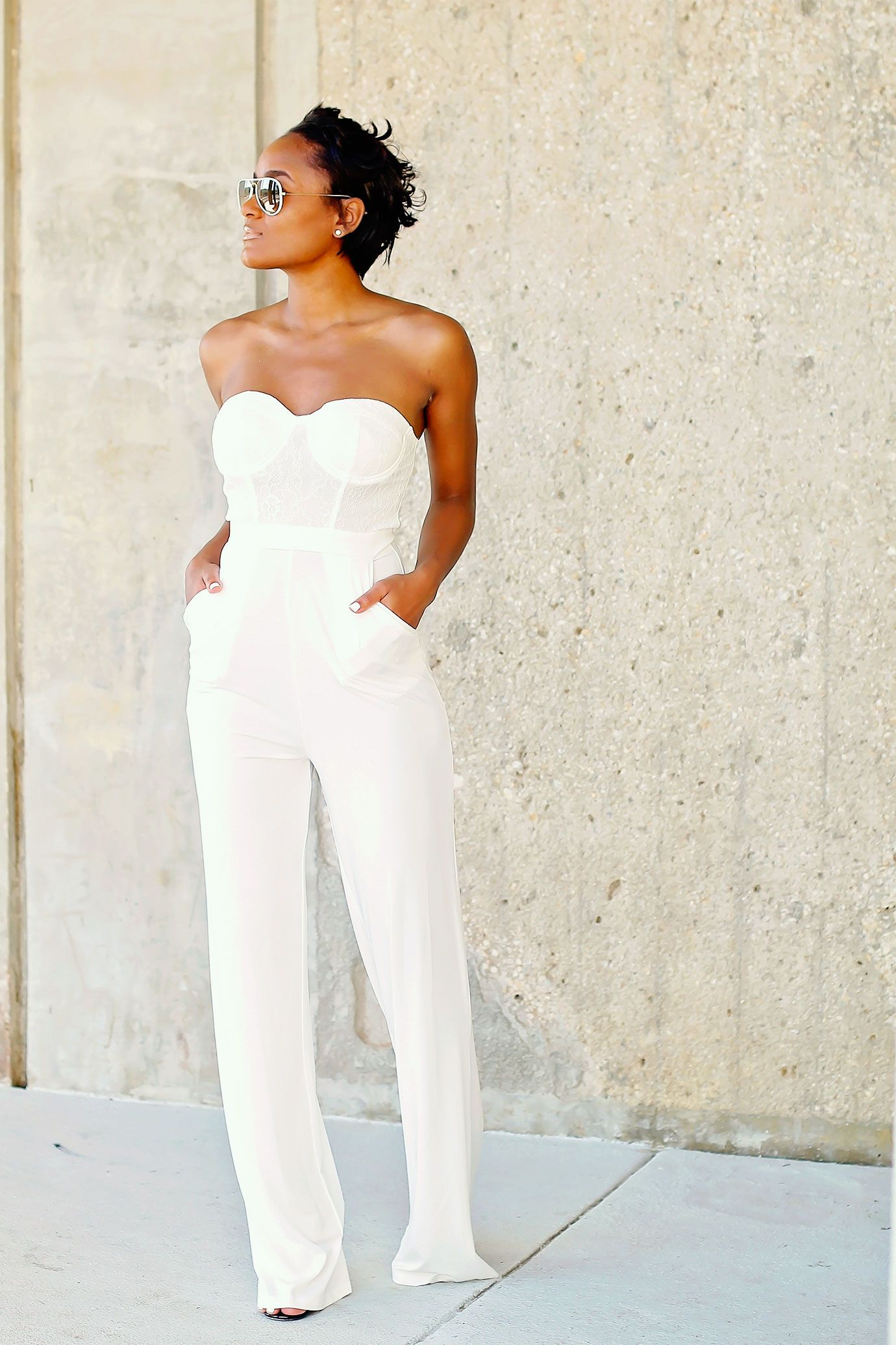 Wardrobe Basics | All white jumpsuit, White bustier and Pants