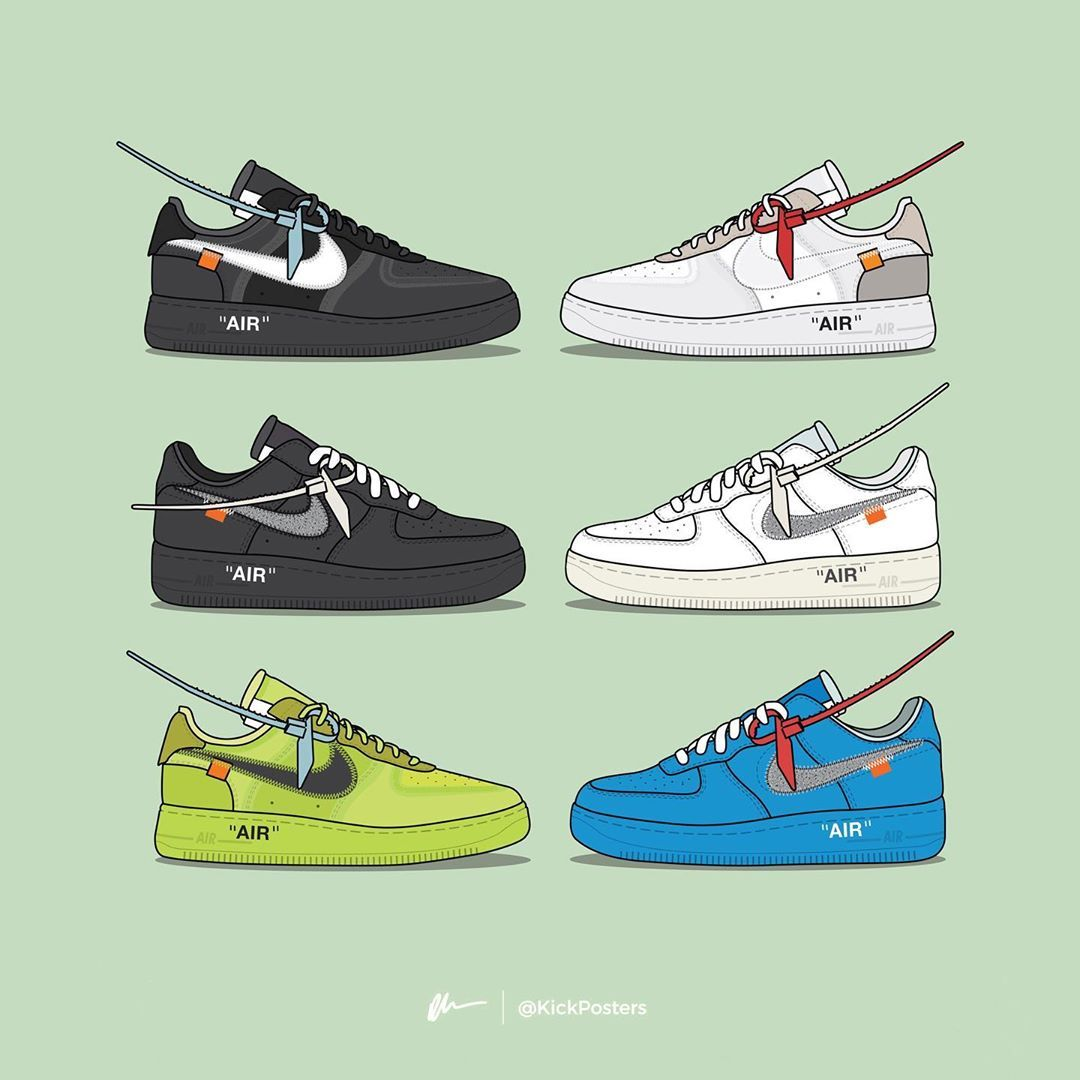 Dan Freebairn Kickposters On Instagram Which Is The Best Off White Af1 Comment Below With Sneakers Wallpaper Off White Fashion Sneakers Sketch