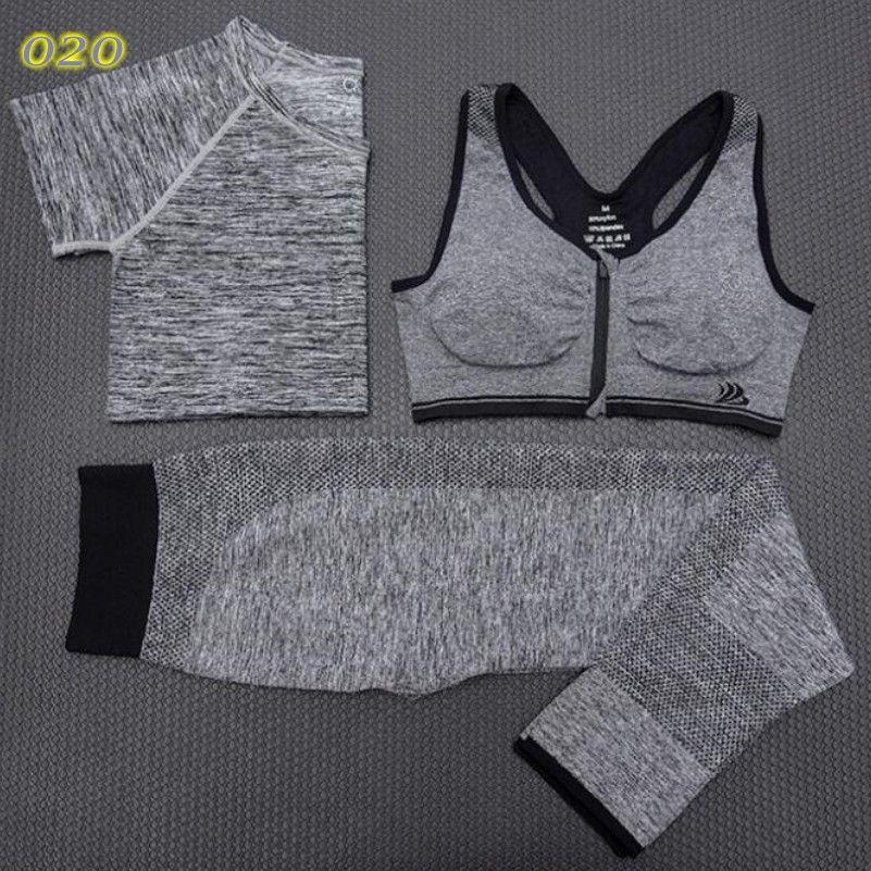 4f641d306b 3 Pcs Women Yoga Fitness Set Cropped Tops T-Shirt   Bra   Trousers Sports