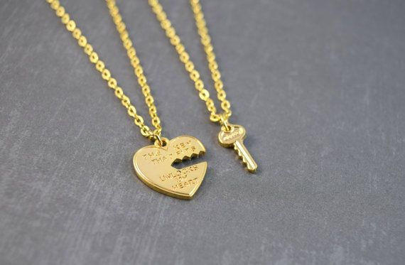 b2c0f0dc20 Sweet heart and key couples necklace. Heart pendant is engraved with: The  key that fits unlocks my heart. The matching key fits on the heart charm.