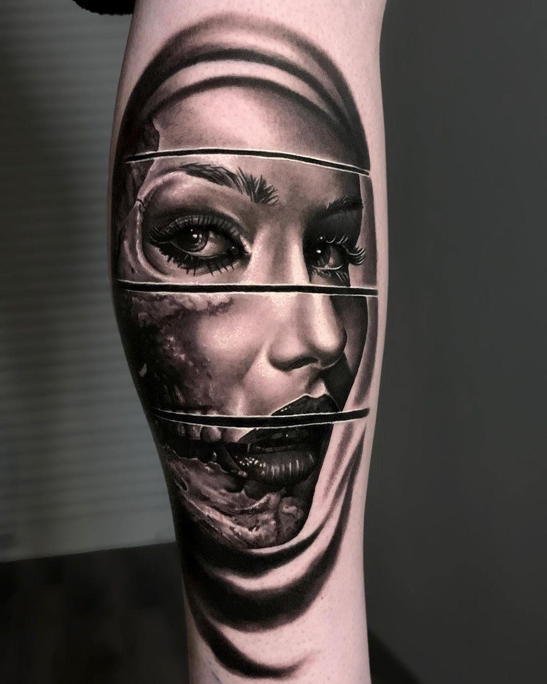 Spliced Woman Black And Grey Tattoos Realism Tattoo Cool Tattoos