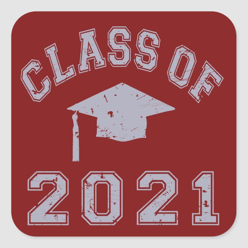 Class of 2021 graduation grey 2 square sticker zazzle
