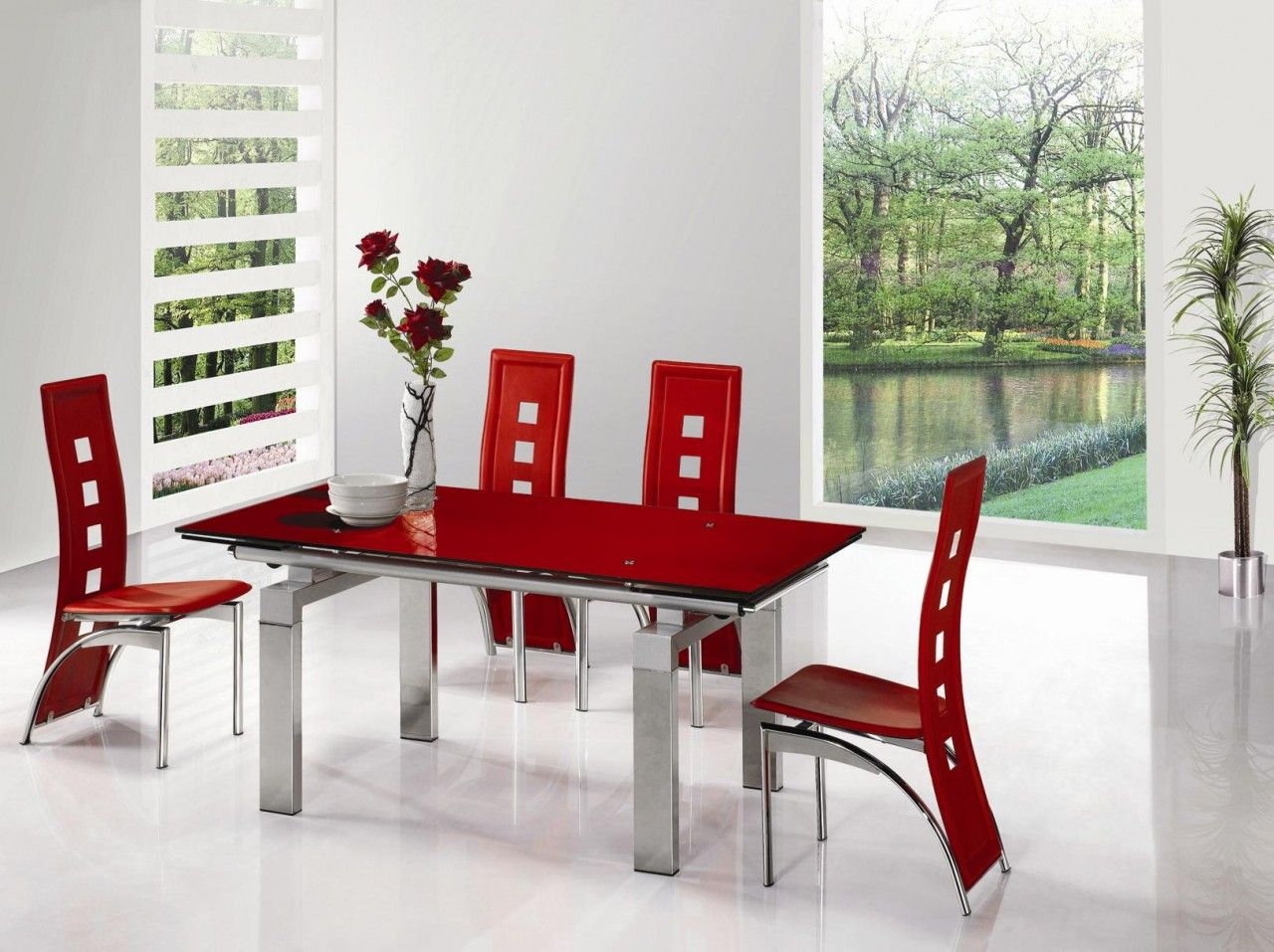 red dining table and chairs on decorating home ideas teetotal red ...