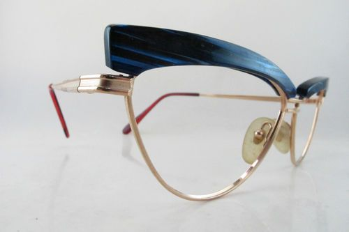 becf644794f8f Vintage 80s Michele Lamy pour Victor Gros eyeglasses electric blue detail  NOS