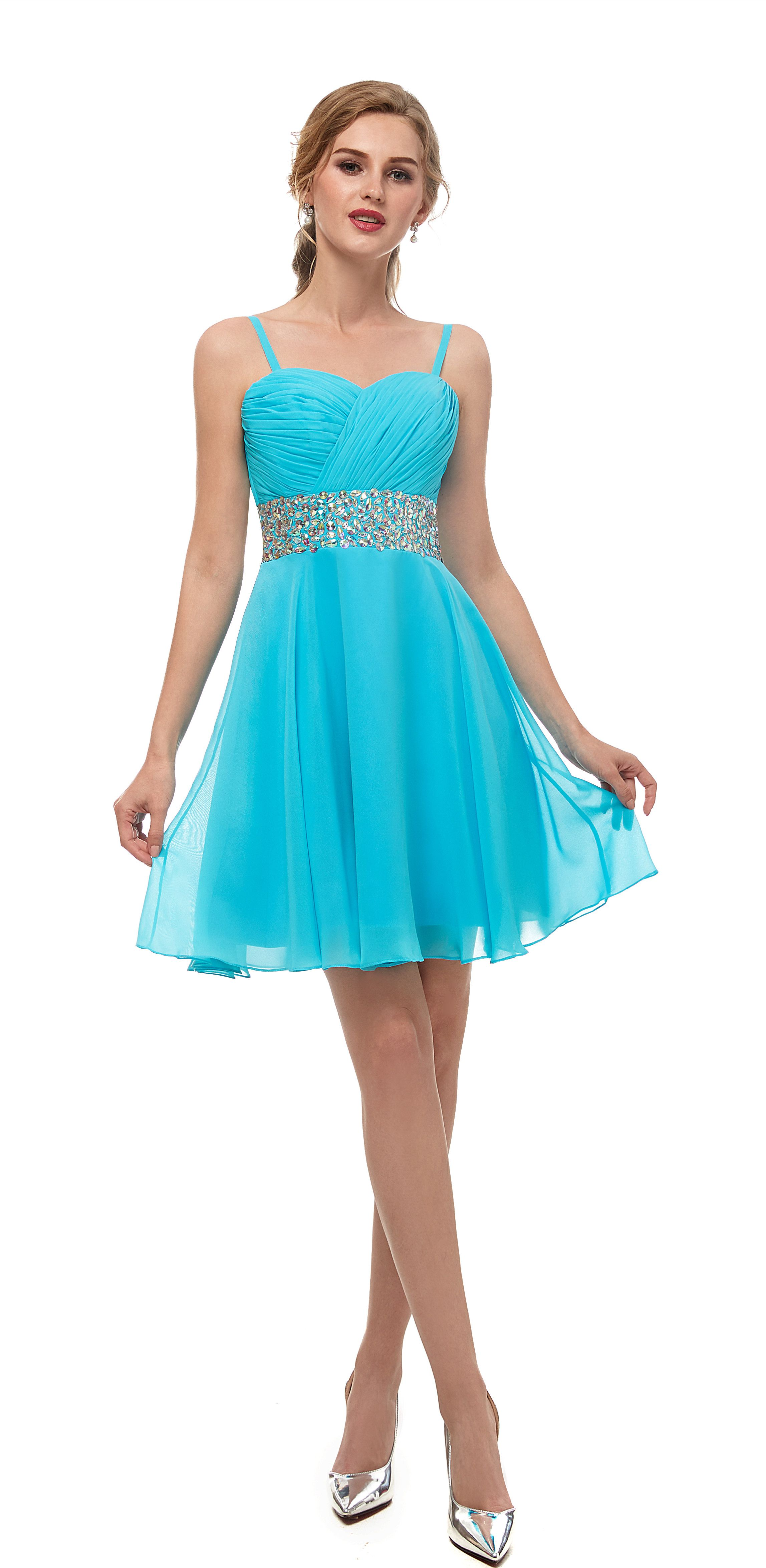 Aline straps aqua chiffon prom dress with rhinestone must have