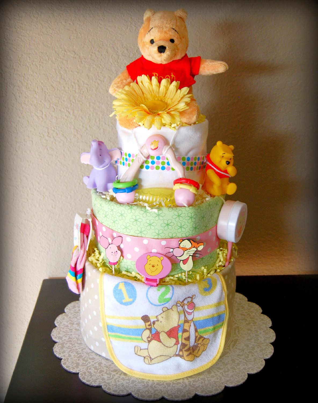 Disney winnie the pooh diaper cake pink baby girl 3 tier