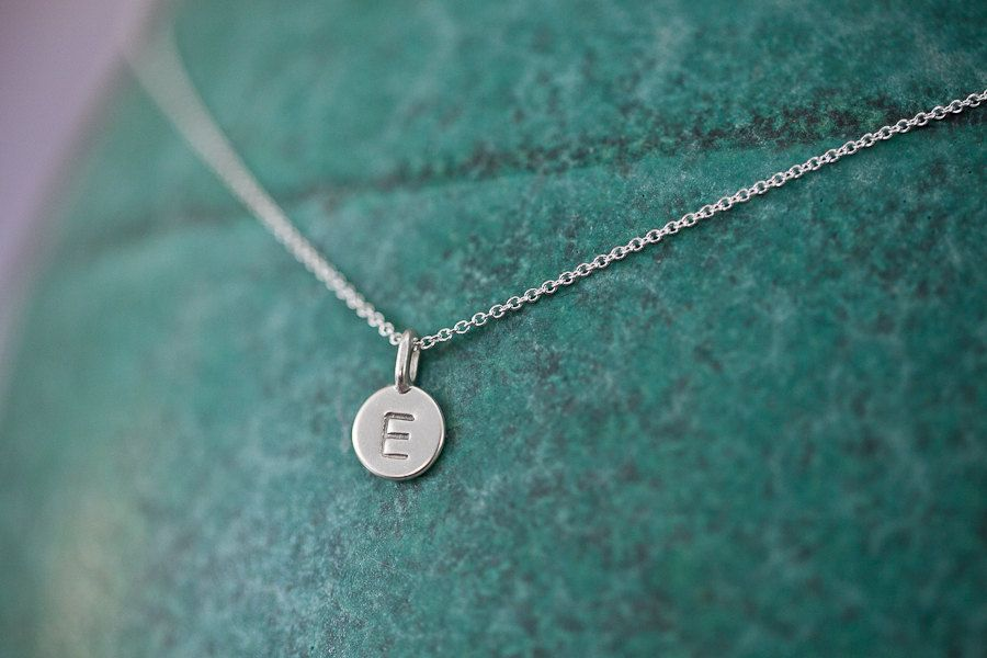 One charm tiny initial necklace in sterling silver pinterest one charm tiny initial necklace in sterling silver 3400 via etsy aloadofball Images