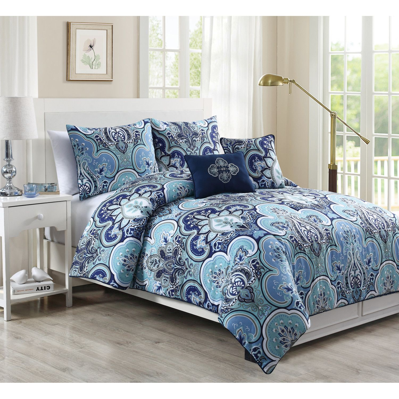 geneva home fashion chester 5 piece comforter set