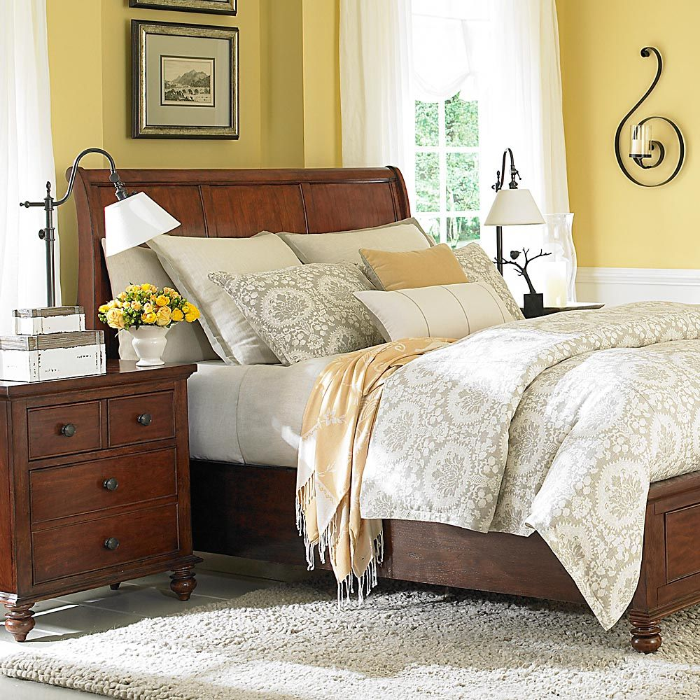 Light Yellow Accent Wall Cherry Bedroom Furniture: Sleigh Beds, Cherry Wood Bedroom, Home