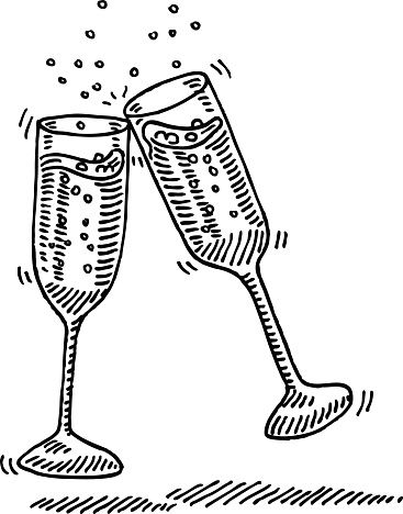 Champagne Glasses Cheers Drawing | Clipart für ABs for ...