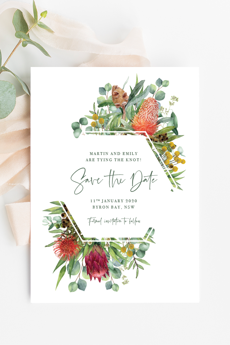 Australian Natives Wedding Invitation Templates Ficus And Fig Design Is An A Engagement Invitations Printable Wedding Invitations Australia Wedding Stationery