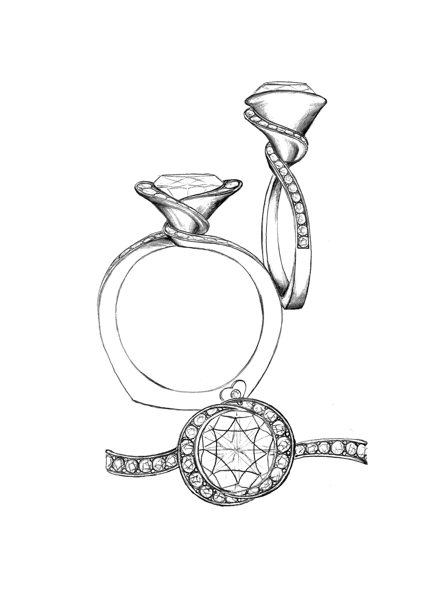 A New Twist On A Halo Custom Ring Sketches In 2019 Jewelry