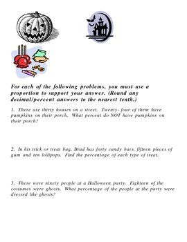Free Halloween Word Problems for fractions, ratios, proportions ...