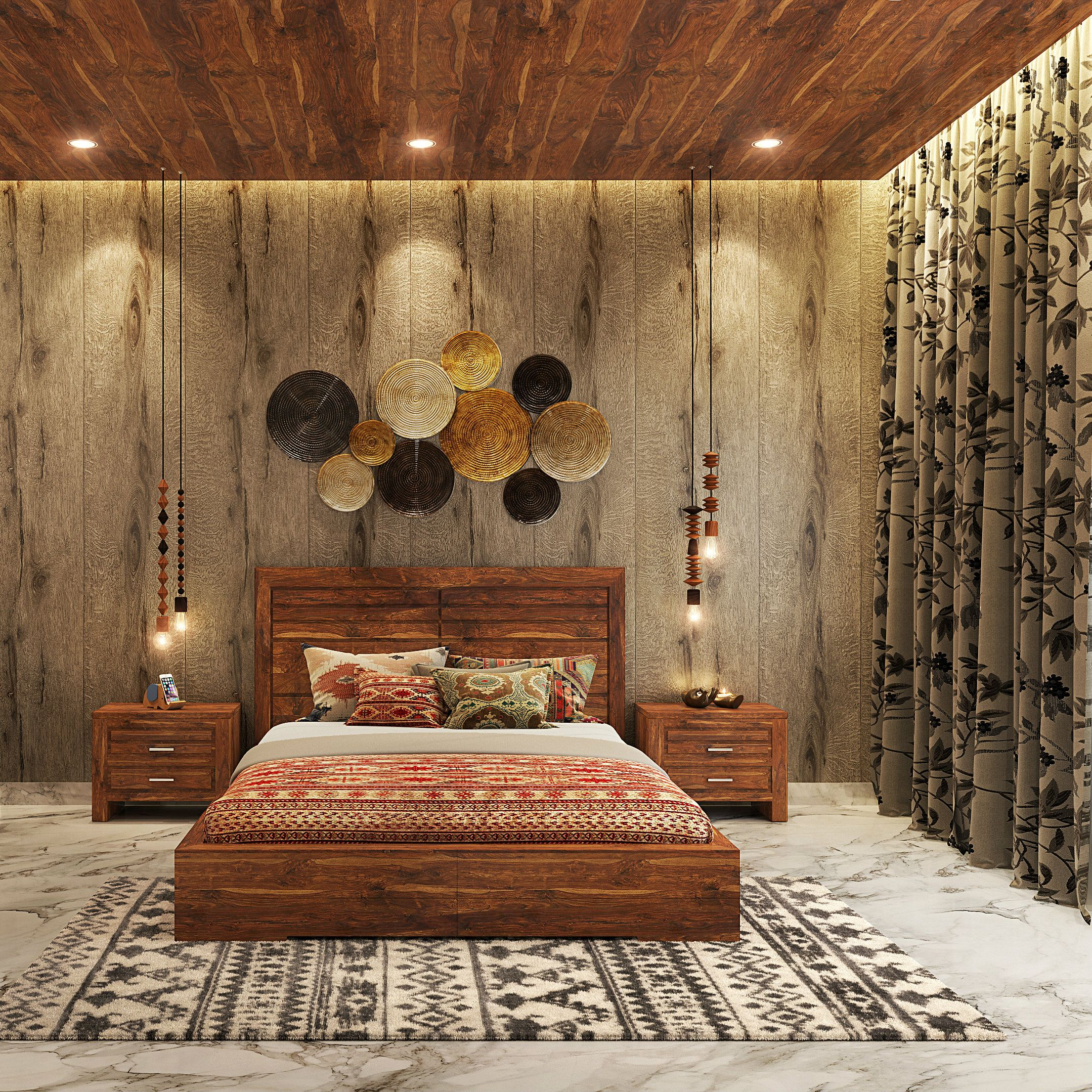 Classic Bedroom Design. Natural Wood Grain Texture