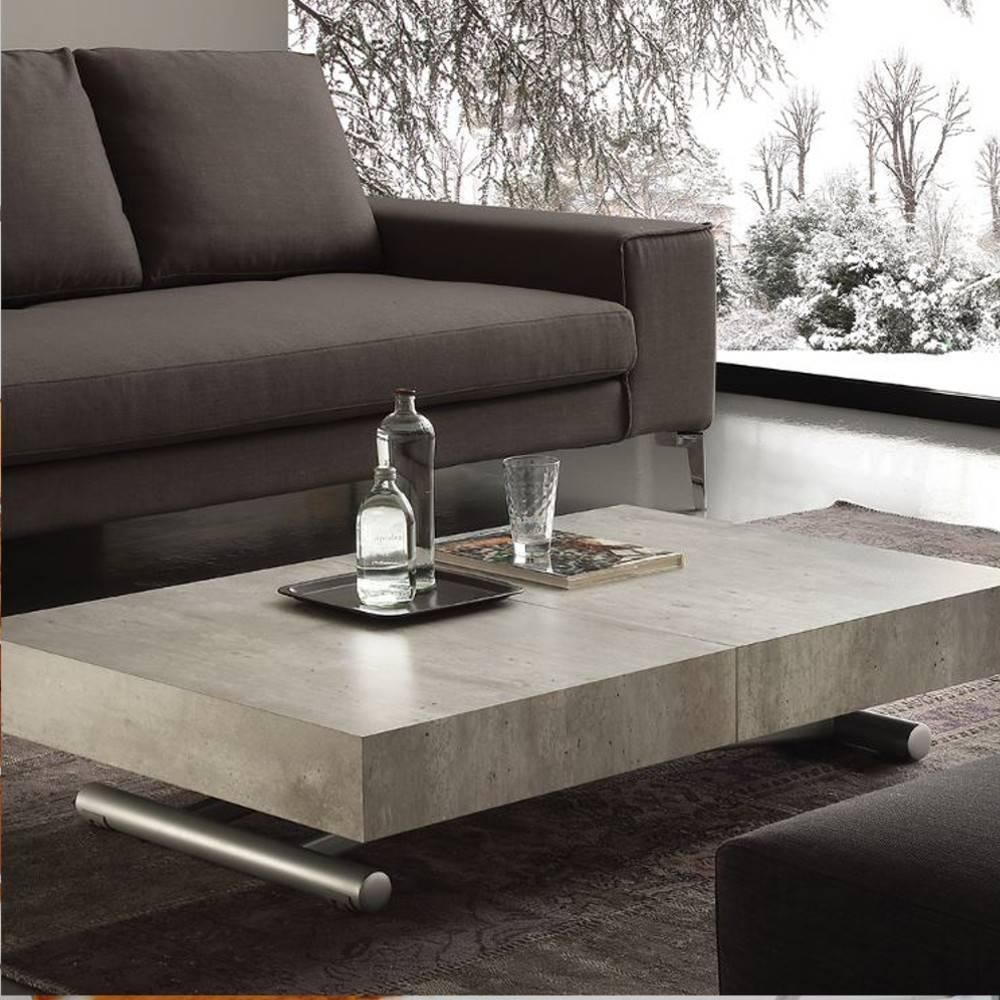 Table Block Relevable Vieilli Aspect Basse Extensible Ciment Design vnNw0m8